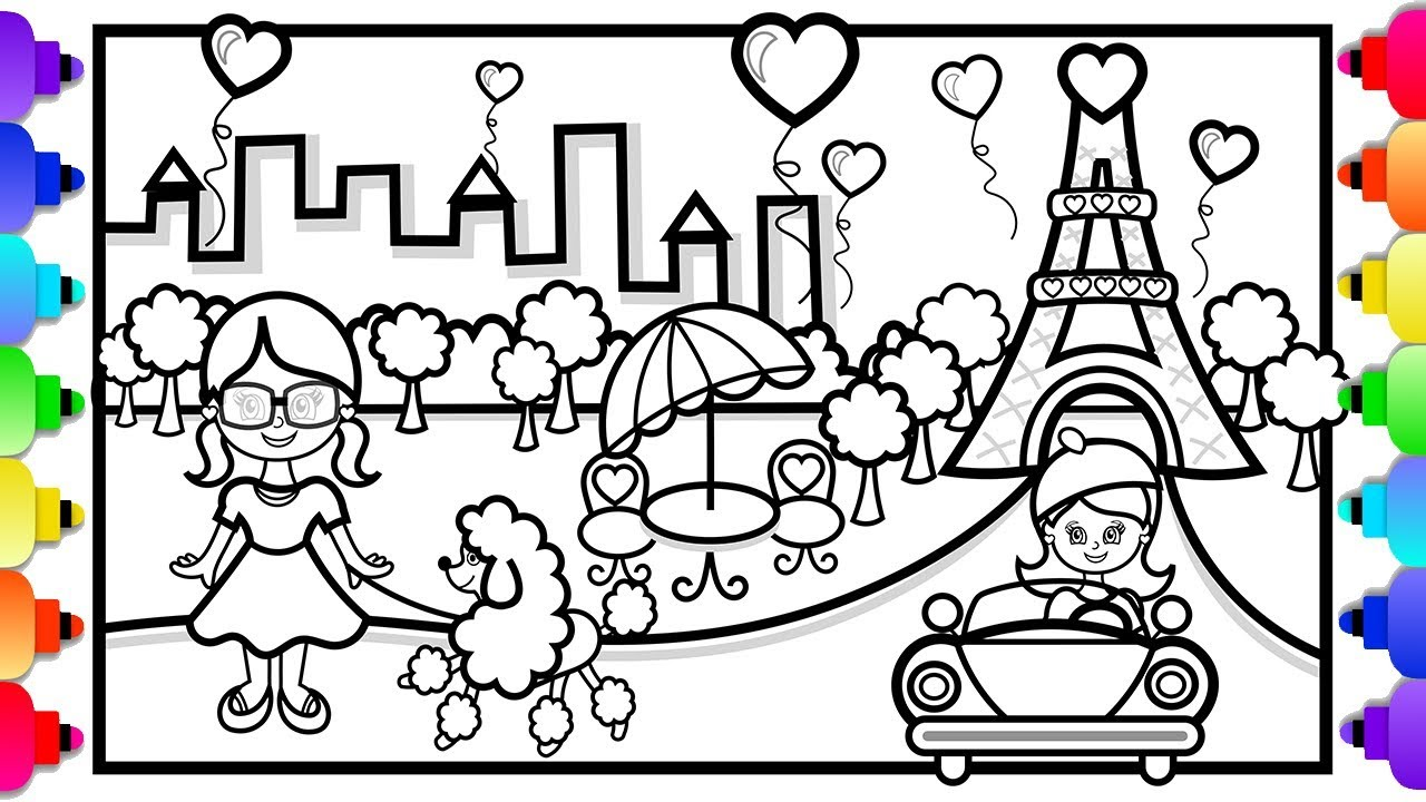 GLITTER Eiffel Tower Drawing and Coloring for Kids ✨💜🌈💐🌈💜✨ Paris  Eiffel Tower Coloring Page