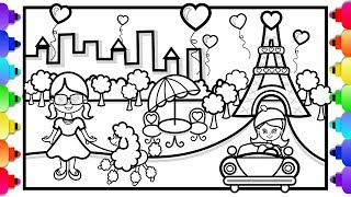 How to Draw Eiffel Tower for Kids ✨💜🌈💐🌈💜✨ Paris Eiffel Tower Coloring Page