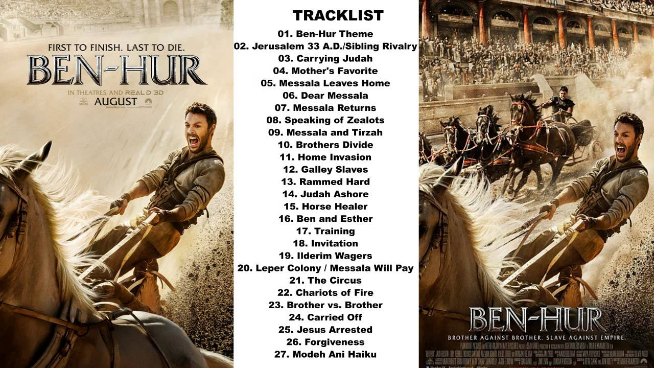 ben hur movie soundtrack 2016 tracklist amp release date