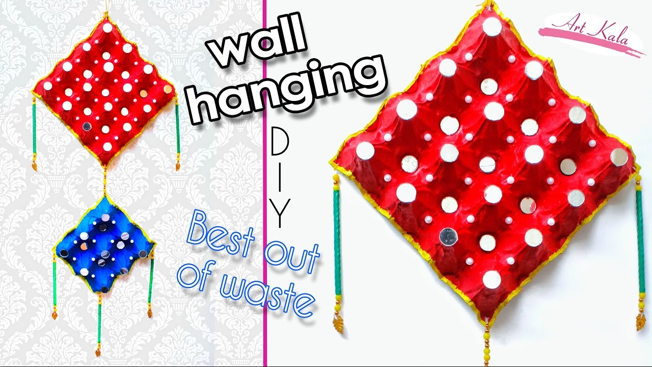 How to make wall hanging from waste egg tray wall art for Waste paper wall hanging