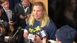 Chase Winovich reacts to Michigan's 42-7 victory over Penn State