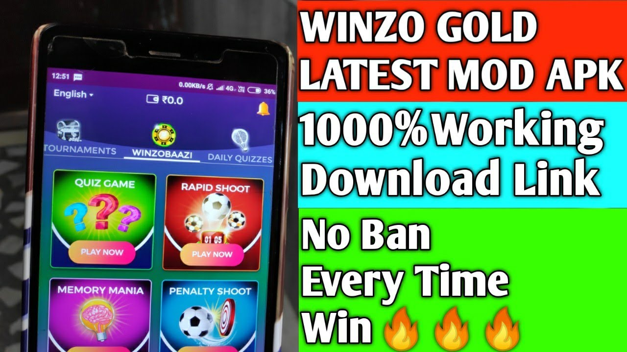 (Expired)WINZO GOLD Latest MOD APK | 1000%Working Download Link | No Ban | Every Time Win