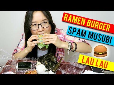 L&L Hawaiian Food Mukbang Q&A | Ramen Burger, Spam Musubi, Lau Lau & Kimchi