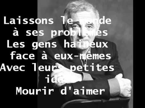 Paroles Mourir d'aimer par Charles Aznavour - …