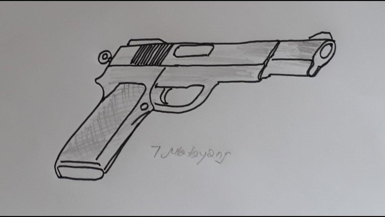 Begini Cara Menggambar Pistol Fn Tentara Dengan Mudah Youtube