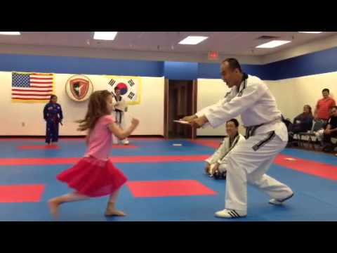 Chloe's double front kick today at the TKD open house.