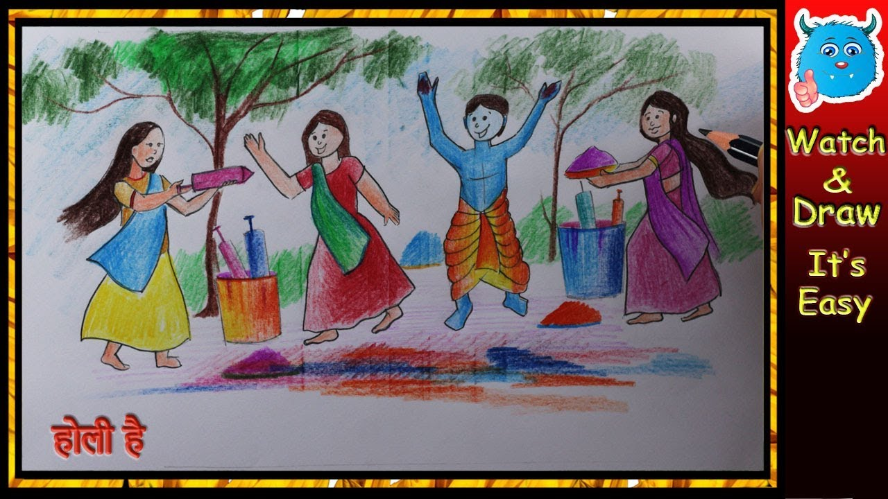 Krishna drawing for holi festival easy draw little radhe krishna