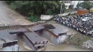A bridge Collapsing during floods Chennai - 2015