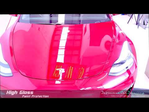 Tesla Model 3 Red Definitive Sydney Liquid Glass Ceramic Coating High Gloss Paint Protection Treatme