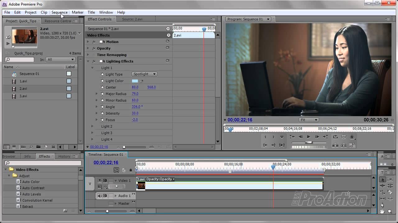 Lighting Effect In Adobe Premiere Pro