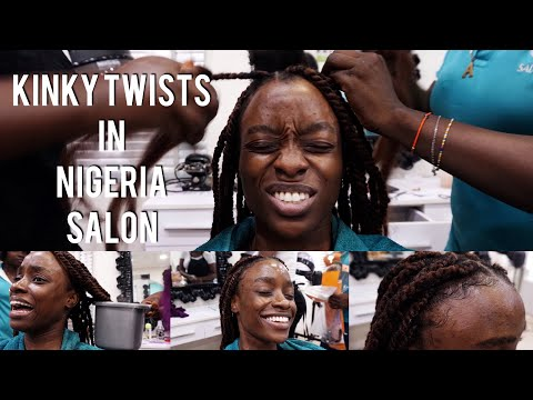 KINKY TWISTS DONE IN NIGERIA | SALON VISIT WITH NATURAL HAIR