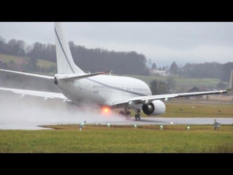 Boeing 737-79T BBJ - Rainy Take Off & Jet Blast at Airport Bern-Belp