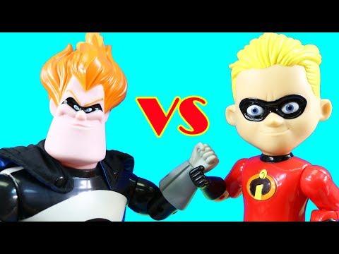 Incredibles 2 Interactive Gift Set + Giant Size Mr. Incredible & Dash Vs. Syndrome ! Superhero Toys
