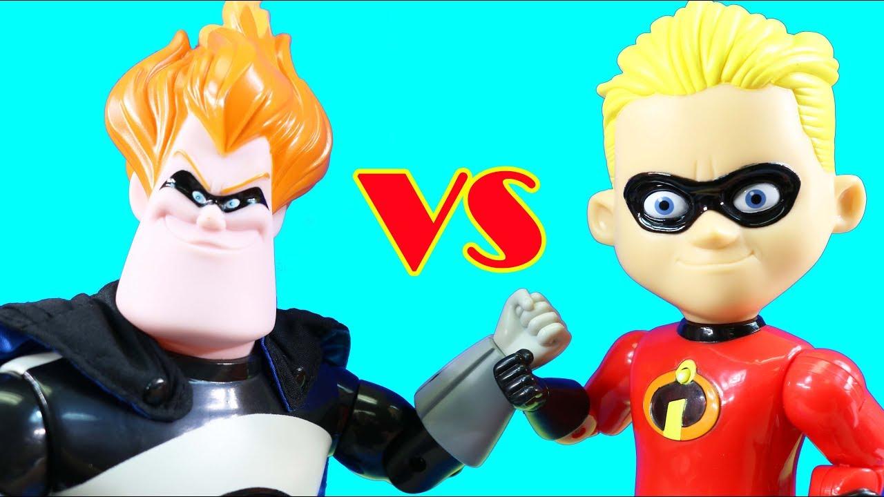 Incredibles 2 Interactive Gift Set Giant Size Mr Incredible Dash Vs Syndrome Superhero Toys Youtube