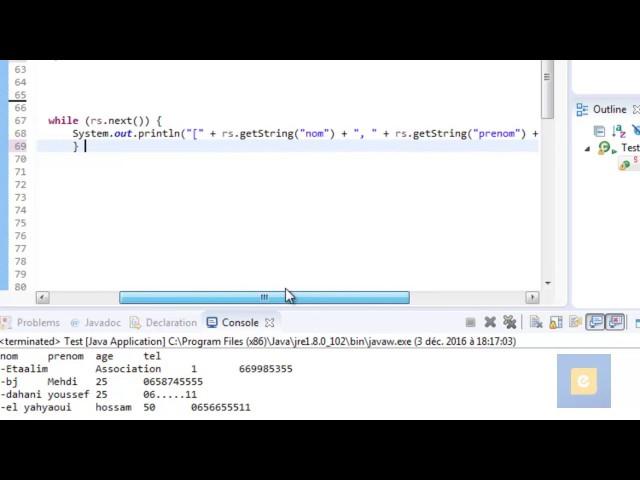 Java : JDBC 6 : Traitement des Requêtes SQL : Récupération des résultats