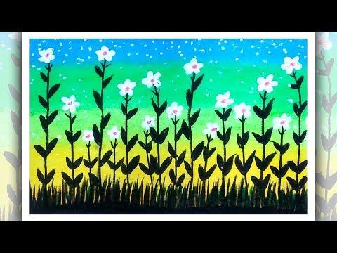How to draw flower garden, Flower garden scenery drawing, simple drawing ideas