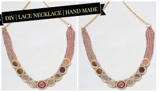 How To Make Silk Thread lace Necklace || Necklace At Home