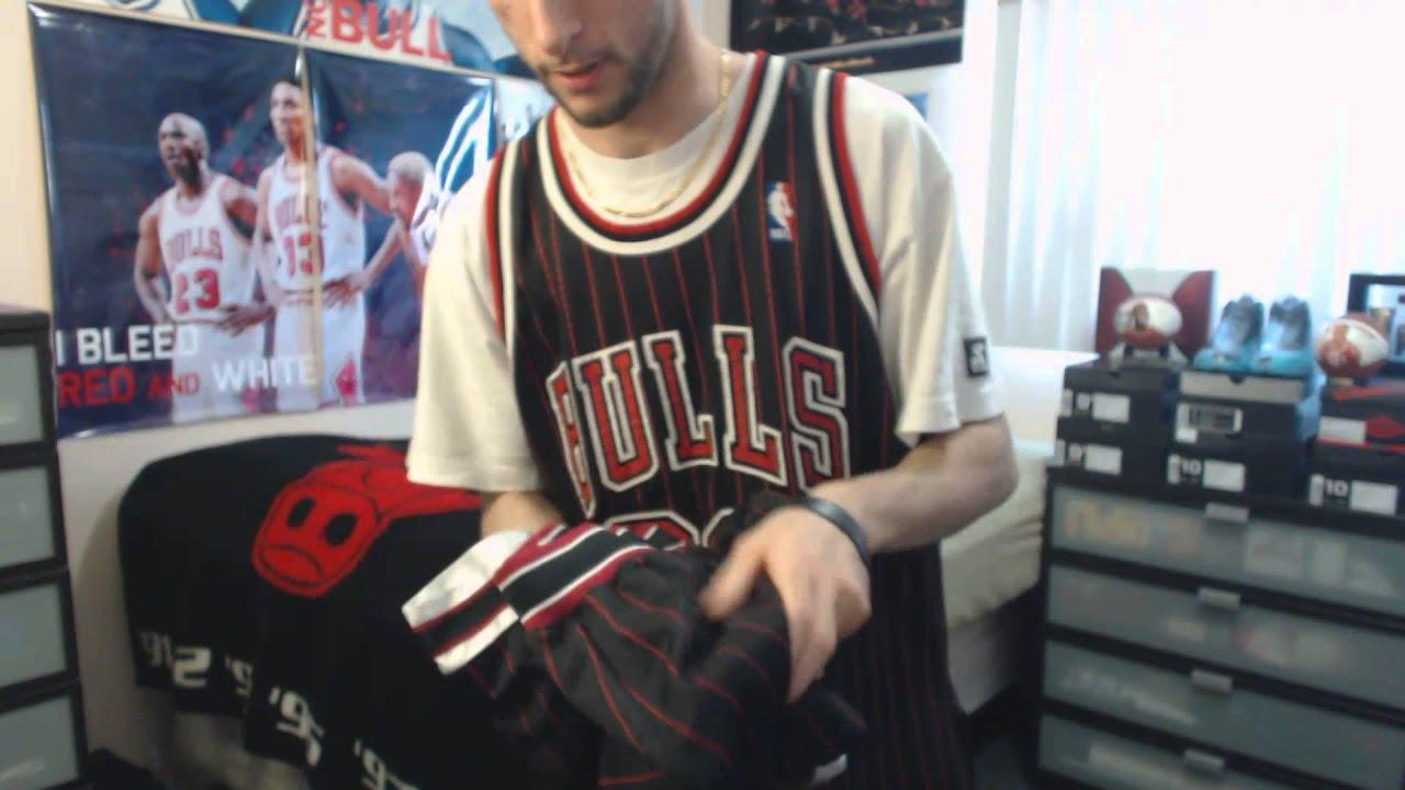 best service d2e14 5fff4 Unboxing: Air Jordan Black/Red Pinstripe Shorts + Matching Jersey (1080p)