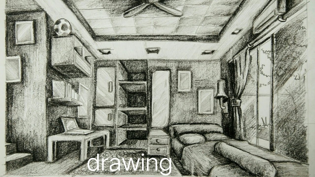 Cara menggambar perspektif 1 titik hilang: kamar ...