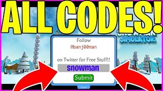 SNOWMAN SIMULATOR CODES *ALL NEW CODES* ROBLOX ☃️