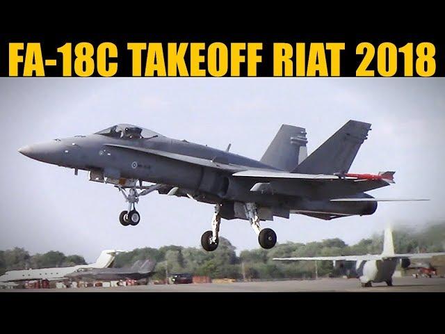 Finnish FA-18C Hornet Takeoff & Climb | RIAT 2018