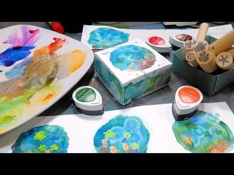 Undersea Origami Watercolor Stamped Box