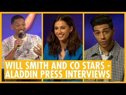 Will Smith, Naomi Scott, Mena Massoud And Guy Ritchie - Aladdin Cast Press Interviews