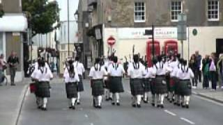 Kirkwall Pipe Band playing outisde St Magnus Cathedral