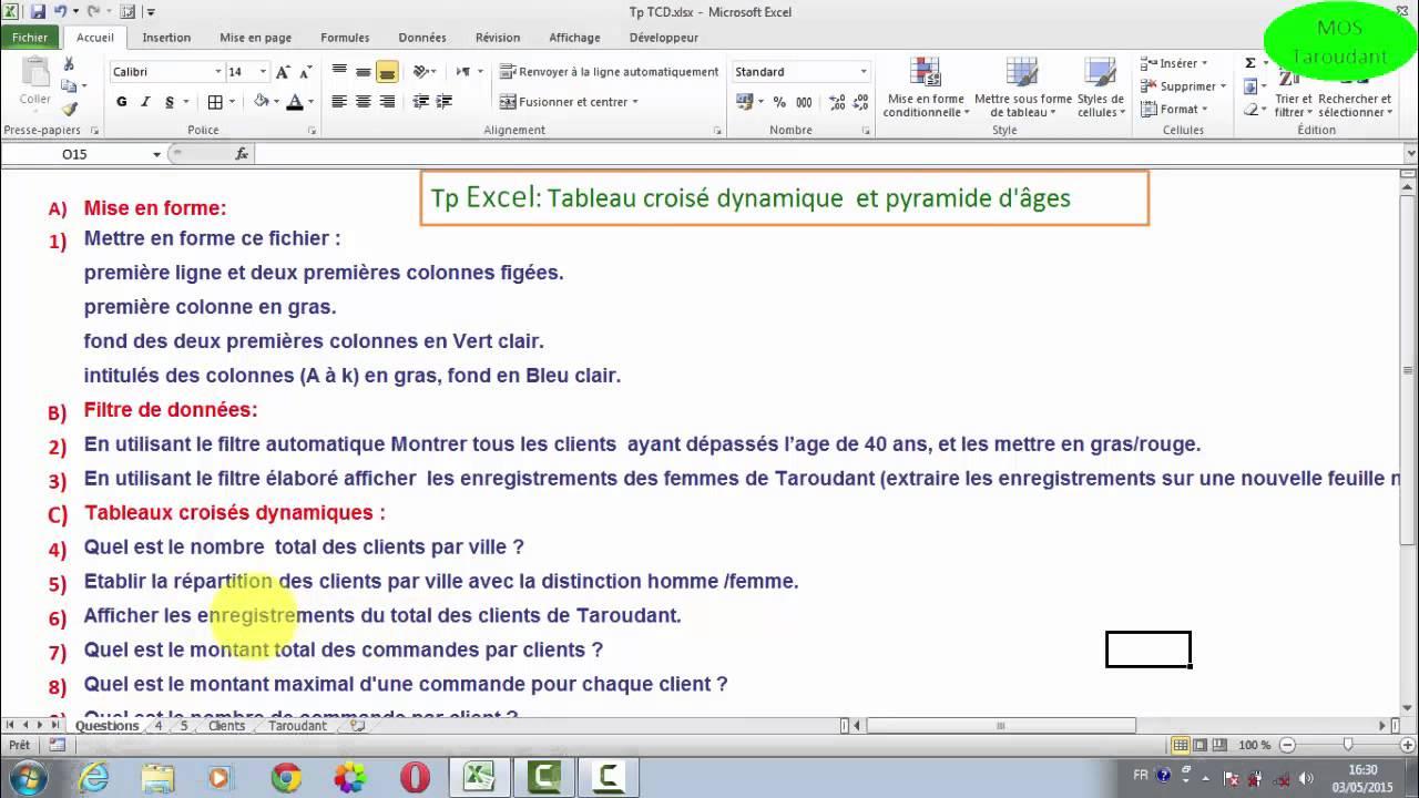 Excel:Tableau croisé dynamique et pyramide d'âges - YouTube