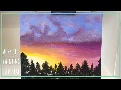 How to paint ANY photo/image | Sunset acrylic painting