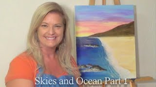 "Free Painting Lesson: ""how To"" Guided Acrylic Painting For Beginners (techniques-skies & Oceans #1)"