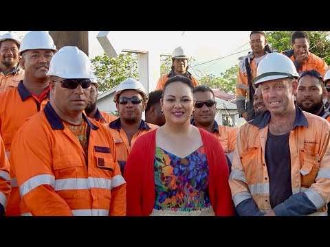 HRH Princess Angelika Lātūfuipeka Tuku'aho kind delivery of meals to Tonga Power Line Mechanics