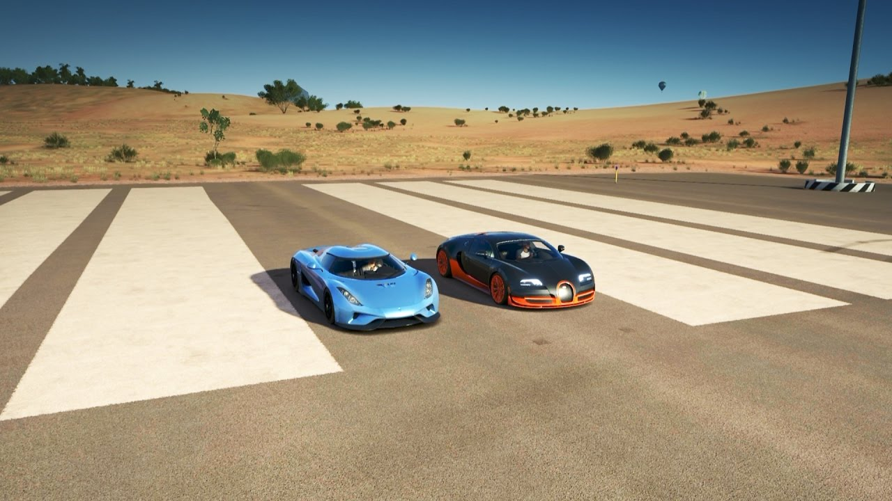 koenigsegg regera vs bugatti veyron ss drag race forza. Black Bedroom Furniture Sets. Home Design Ideas