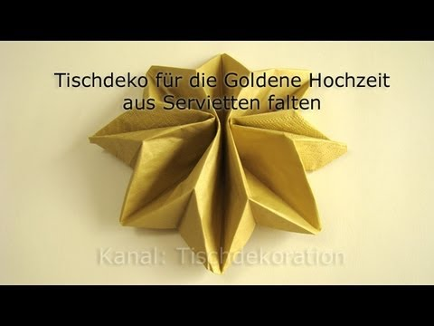 servietten falten goldene hochzeit youtube. Black Bedroom Furniture Sets. Home Design Ideas