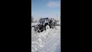 мтз 80 с куном чистим снег
