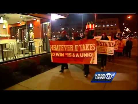 Fast-food Workers Demonstrate At KCK McDonald's