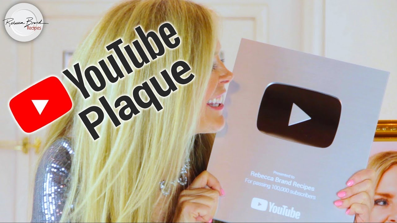 Youtube 100000 Subs Plaque Unboxing Silver Play Button Rebecca Brand