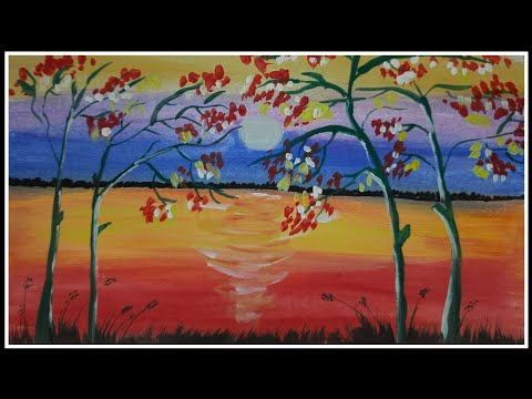 Landscape watercolor painting | painting | tree | colourful | nature drawing | Easy painting |