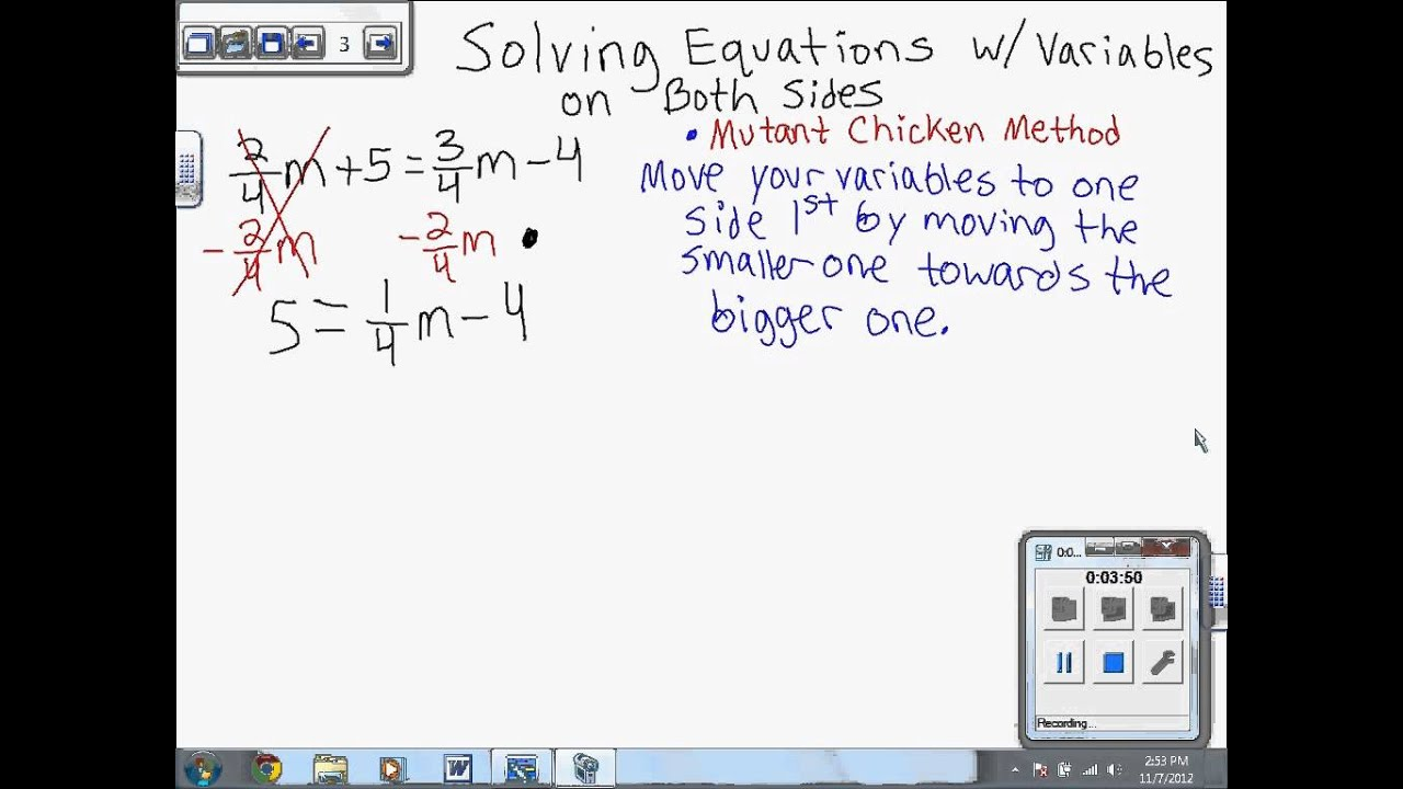 Solving Linear Equations With The Variable On Both Sides 7th Grade Ch 3 3 3 D