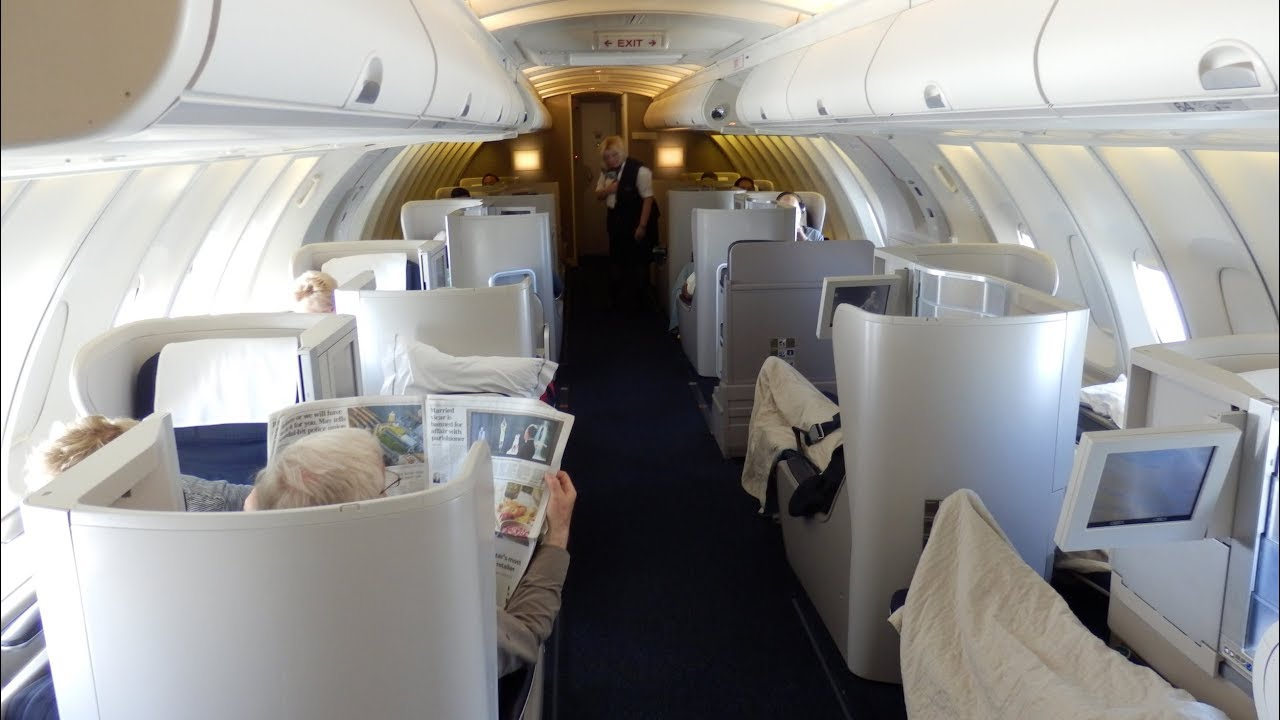 british airways boeing 747 business class upper cabin london to san francisco [ 1280 x 720 Pixel ]