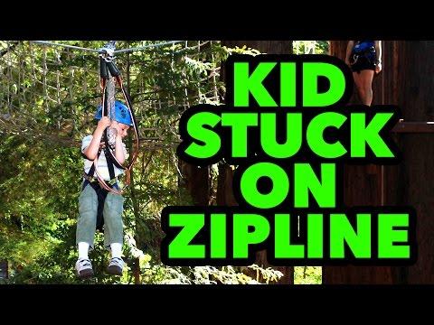 Kid Stuck On Zip Line!
