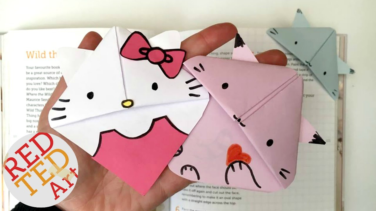 easy cat bookmark (hello kitty, kawaii kitten, kitten, paper crafts
