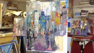 "Painting Demonstration Mixed Media Collage ""Tokyo Street Scene"""