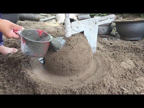 Primitive Technology Construction Concrete Easy - Build Concrete Pot Extreme Simple