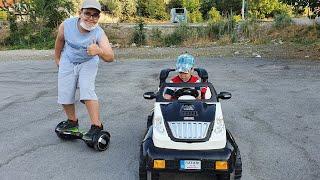 Buğra Berat Hoverboard ve Akülü Araba ile Yarıştı