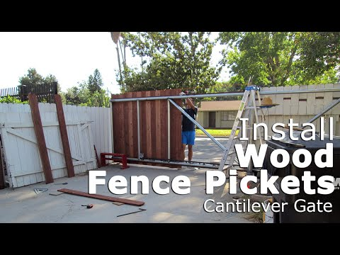 Time lapse, mount fencing boards for cantilever sliding gate, chain link frame