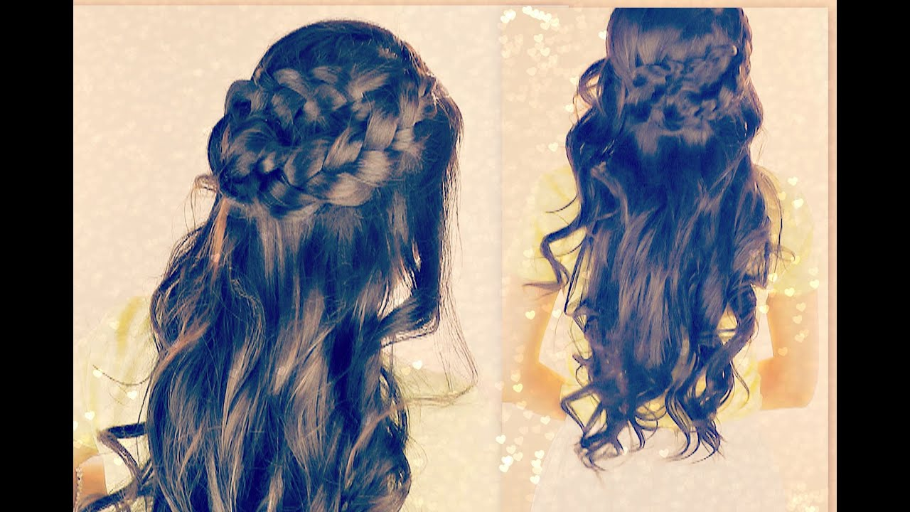 ★cute curly hairstyles | braided half- up updos for school with curls | medium long hair tutorial|