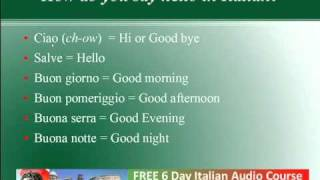 How Do You Say Hello in Italian