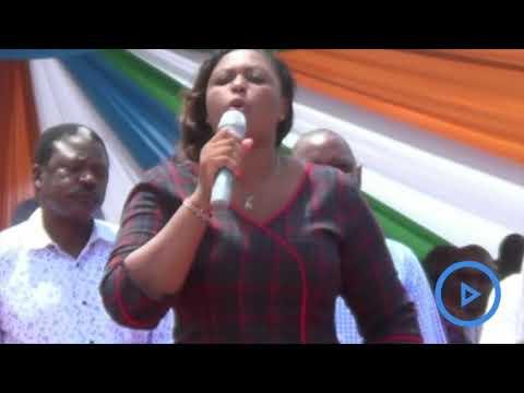 Malindi MP Elect Aisha Jumwa addressing Kilifi residents during governor Amason Kingi inauguration