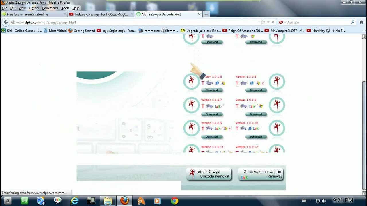 how to download zawgyi font in windows 7